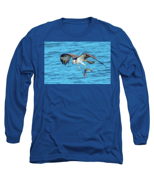 Best Osprey With Fish In One Talon Long Sleeve T-Shirt by Jeff at JSJ Photography