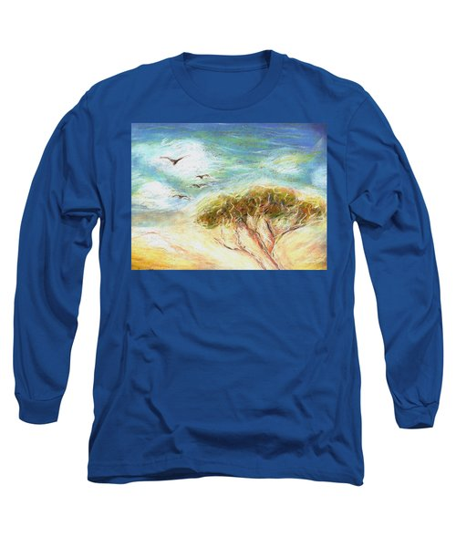Long Sleeve T-Shirt featuring the drawing Betty's Tree by Denise Fulmer