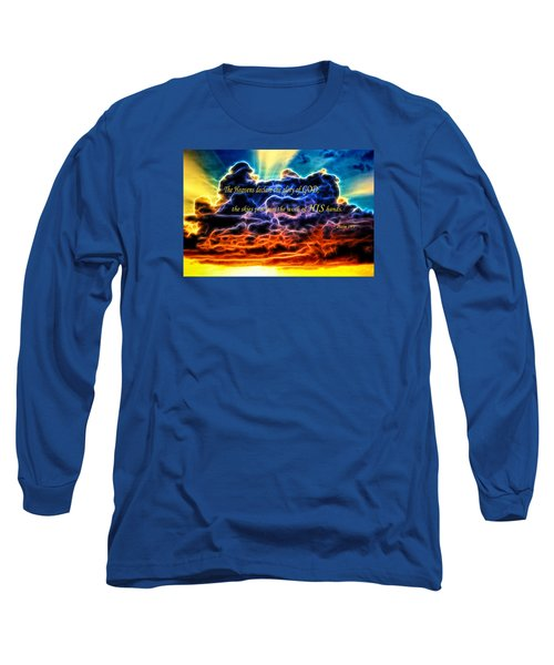 Long Sleeve T-Shirt featuring the photograph Biblical Electrified Cumulus Clouds Skyscape - Psalm 19 1 by Shelley Neff