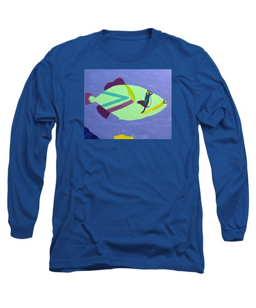 Long Sleeve T-Shirt featuring the painting Big Fish In A Small Pond by Karen Nicholson