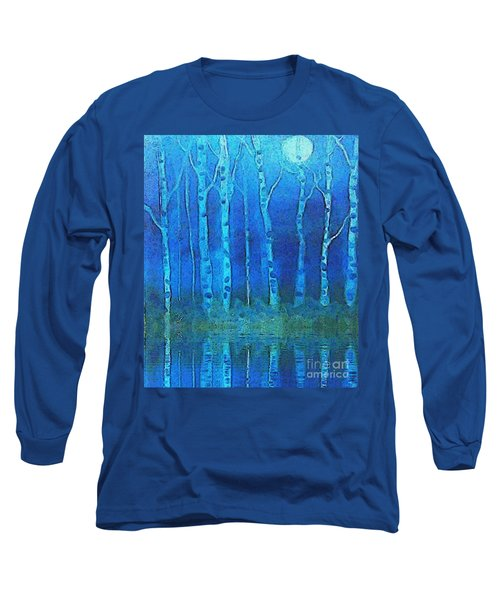 Birches In Moonlight Long Sleeve T-Shirt by Holly Martinson