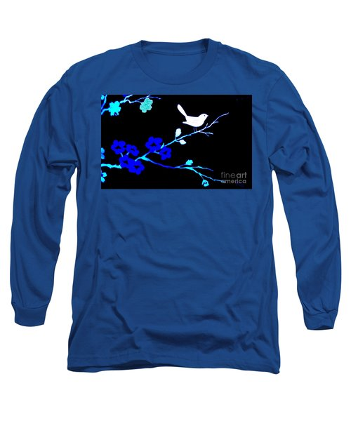 Bird In A Flower Tree Abstract Long Sleeve T-Shirt