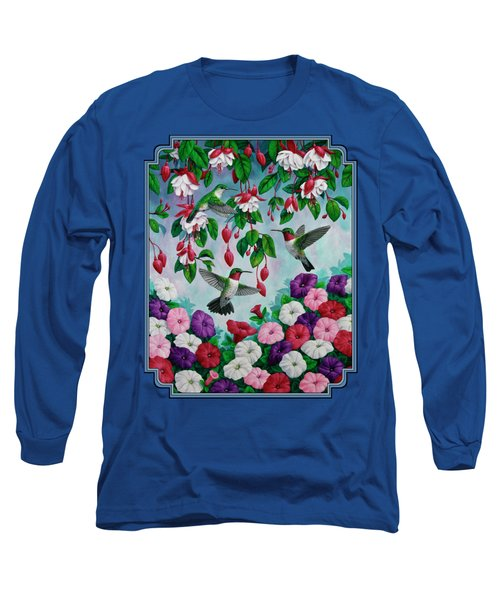 Bird Painting - Hummingbird Heaven Long Sleeve T-Shirt by Crista Forest