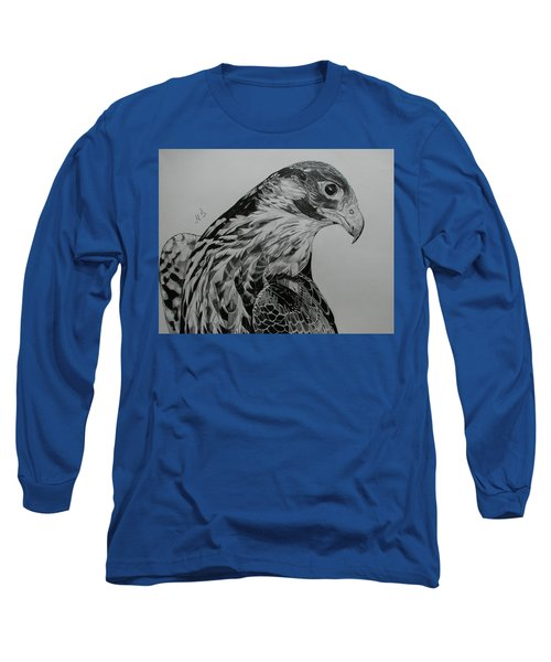 Long Sleeve T-Shirt featuring the drawing Birdy by Melita Safran