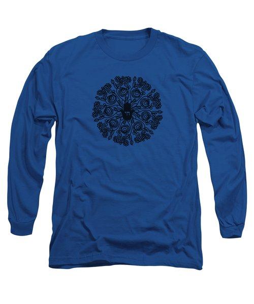 Black And White Hamsa Mandala- Art By Linda Woods Long Sleeve T-Shirt by Linda Woods