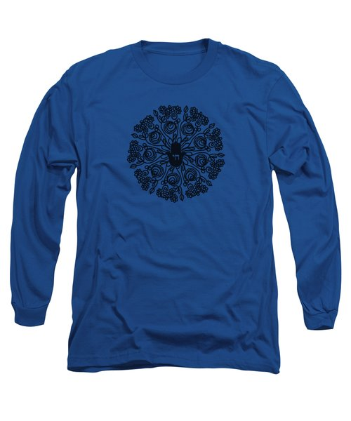 Black And White Hamsa Mandala- Art By Linda Woods Long Sleeve T-Shirt