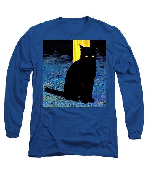Black Cat Yellow Eyes Long Sleeve T-Shirt