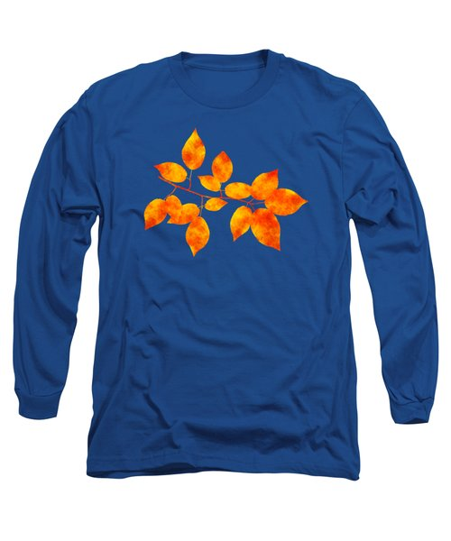 Long Sleeve T-Shirt featuring the mixed media Black Cherry Pressed Leaf Art by Christina Rollo