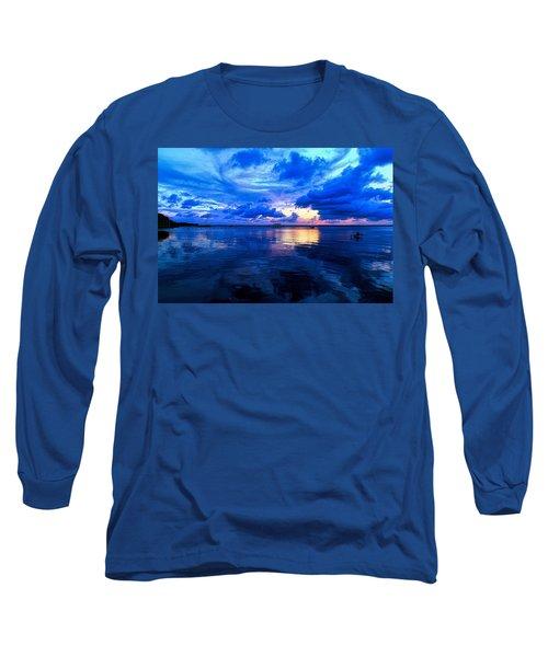 Blazing Blue Sunset Long Sleeve T-Shirt