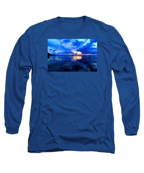 Blazing Blue Sunset Long Sleeve T-Shirt