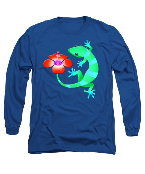 Blue And Green Jungle Lizard With Orange Hibiscus /background Long Sleeve T-Shirt