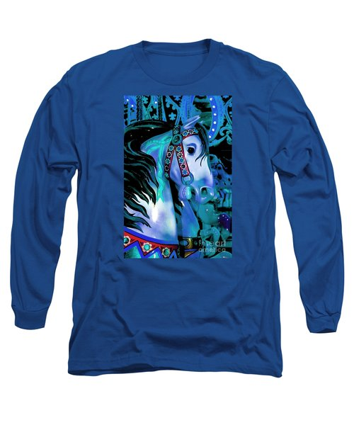 Blue And Teal Carousel Horse Long Sleeve T-Shirt