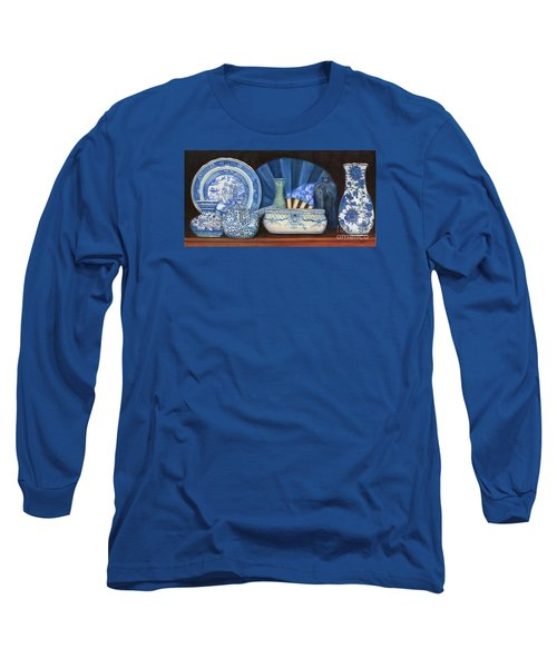 Blue And White Porcelain Ware Long Sleeve T-Shirt by Marlene Book