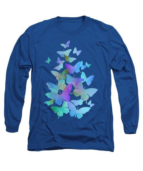 Blue Butterfly Flutter Long Sleeve T-Shirt