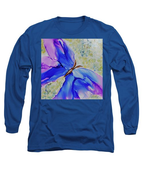 Blue Butterfly Long Sleeve T-Shirt by Joanne Smoley