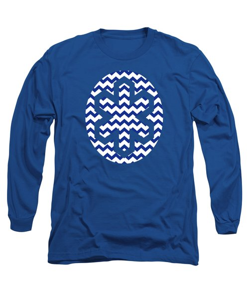 Blue Chevron Pattern Long Sleeve T-Shirt