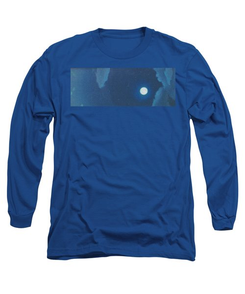Blue Cloudy Moon Long Sleeve T-Shirt