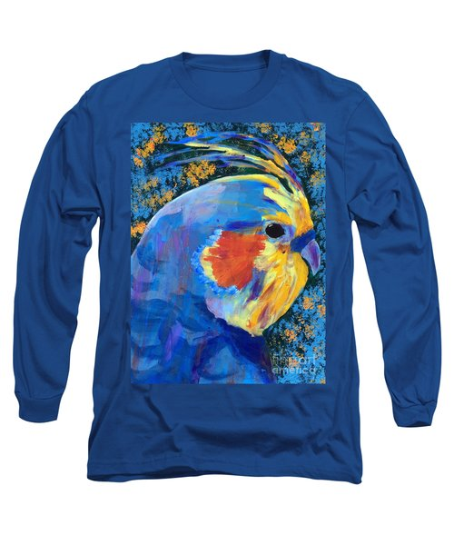 Long Sleeve T-Shirt featuring the painting Blue Cockatiel by Donald J Ryker III