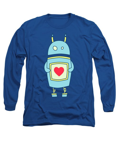 Blue Cute Clumsy Robot With Heart Long Sleeve T-Shirt