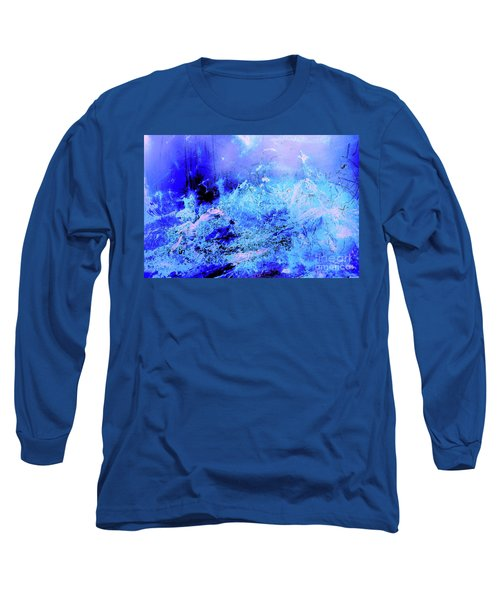 Blue Digital Artwork With Dots And Stripes And Sandstone Finish Long Sleeve T-Shirt