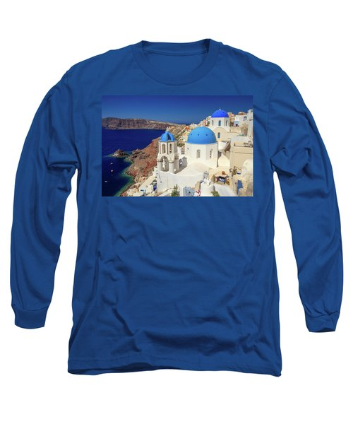 Blue Domed Churches Long Sleeve T-Shirt by Emmanuel Panagiotakis