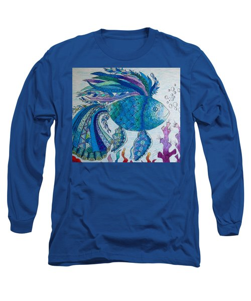 Blue Fish Long Sleeve T-Shirt by Megan Walsh