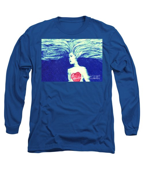 Blue Floating Heart Long Sleeve T-Shirt