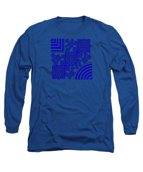 Blue Floral Patterns Long Sleeve T-Shirt