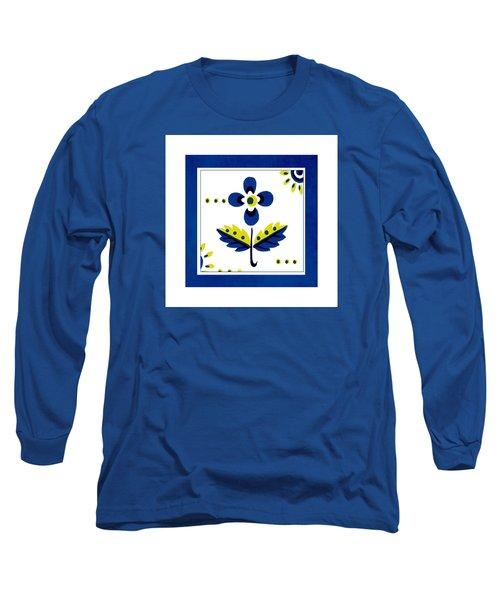 Blue Flower Illustration Long Sleeve T-Shirt by Bonnie Bruno