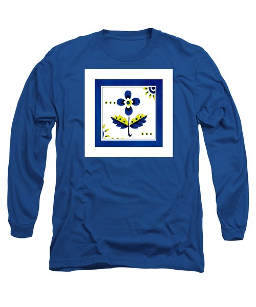 Blue Flower Illustration Long Sleeve T-Shirt