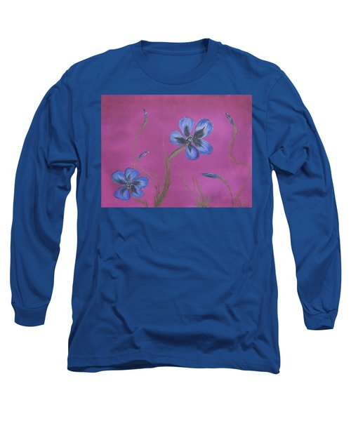 Blue Flower Magenta Background Long Sleeve T-Shirt
