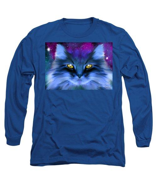 Blue Ghost Cat Long Sleeve T-Shirt