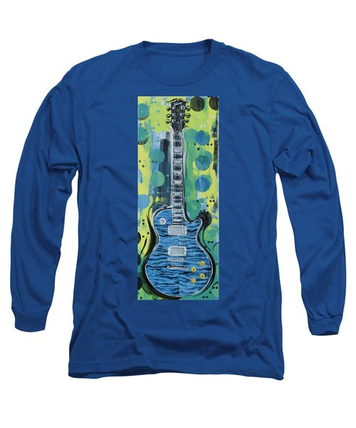 Blue Gibson Guitar Long Sleeve T-Shirt