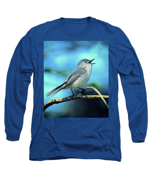 Blue-gray Gnatcatcher Long Sleeve T-Shirt by Rodney Campbell