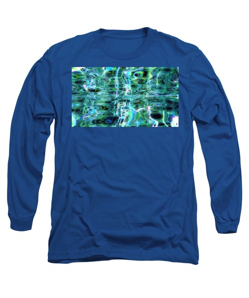Blue Green Abstract 091015 Long Sleeve T-Shirt