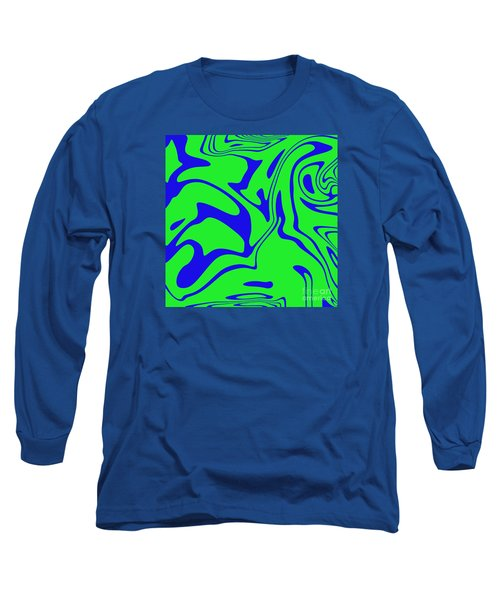 Blue Green Retro Abstract Long Sleeve T-Shirt