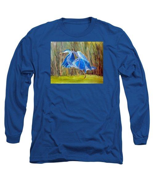 Blue Heron In Viera  Florida Long Sleeve T-Shirt
