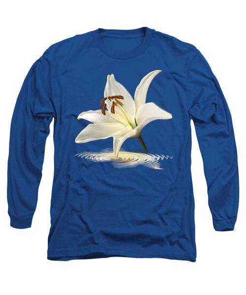 Blue Horizons - White Lily Long Sleeve T-Shirt by Gill Billington