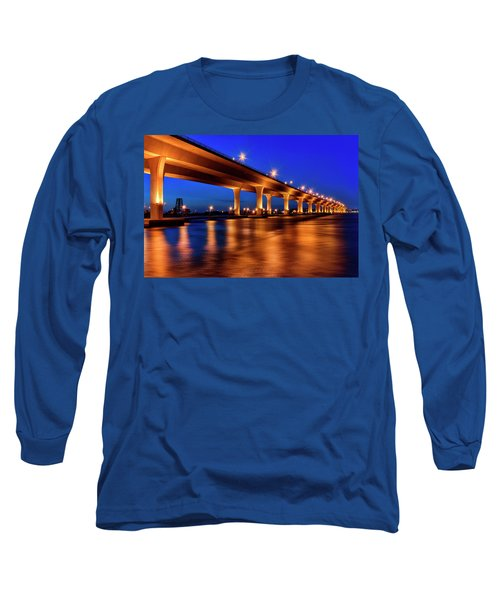 Blue Hour At Roosevelt Bridge In Stuart Florida  Long Sleeve T-Shirt