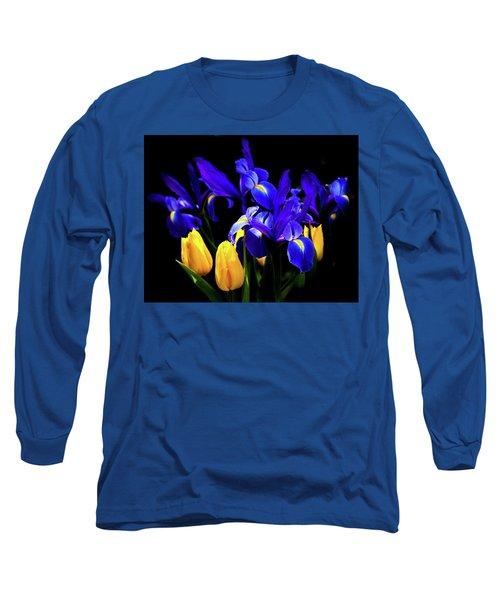 Blue Iris Waltz By Karen Wiles Long Sleeve T-Shirt by Karen Wiles
