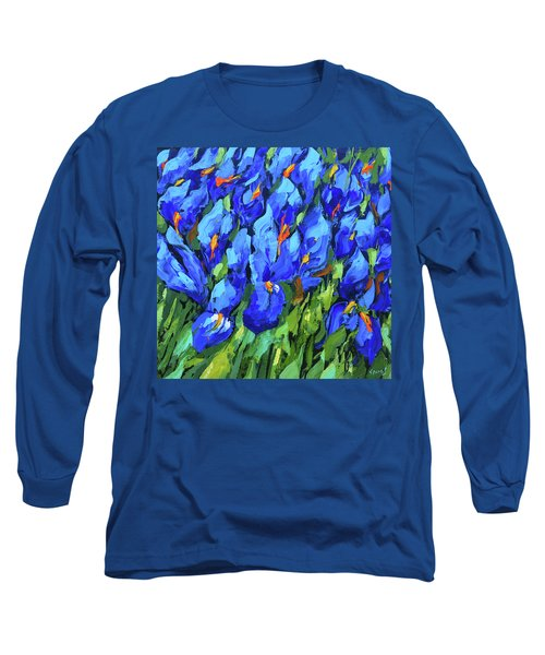 Long Sleeve T-Shirt featuring the painting Blue Irises by Dmitry Spiros