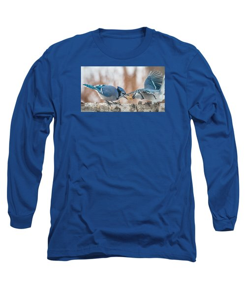 Blue Jay Battle Long Sleeve T-Shirt by Patti Deters
