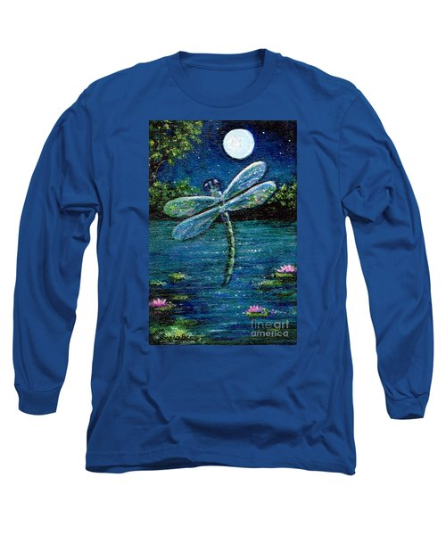 Long Sleeve T-Shirt featuring the painting Blue Moon Dragonfly by Sandra Estes