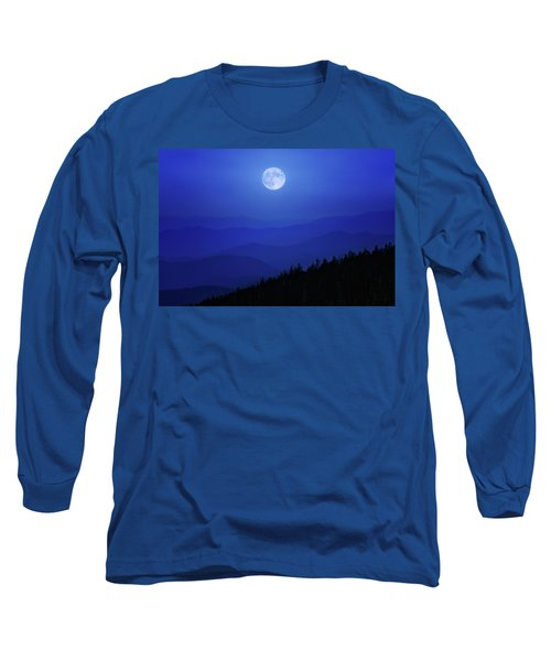 Blue Moon Over Smoky Mountains Long Sleeve T-Shirt