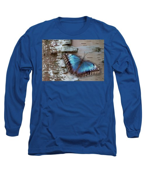 Blue Morpho Butterfly On White Birch Bark Long Sleeve T-Shirt by Patti Deters