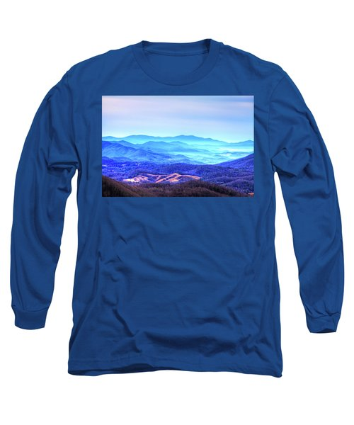Blue Mountain Mist Long Sleeve T-Shirt by Dale R Carlson