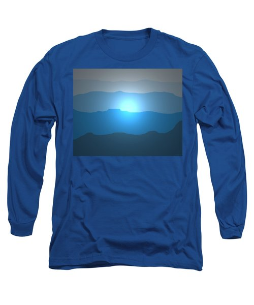 Blue Mountain Sun Long Sleeve T-Shirt by David Stasiak