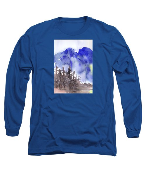 Long Sleeve T-Shirt featuring the painting Blue Mountains by Yolanda Koh