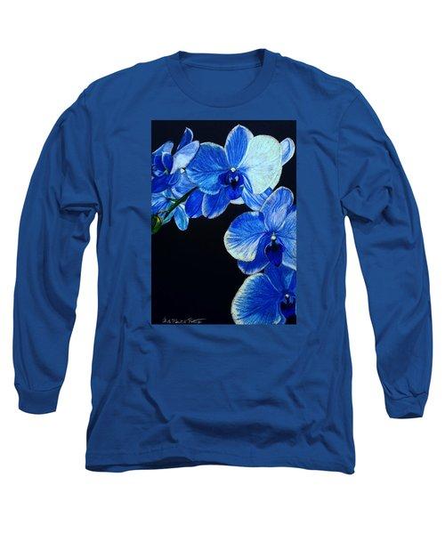 Blue Orchid - Electric-blue Phalaenopsis Long Sleeve T-Shirt by Anita Putman