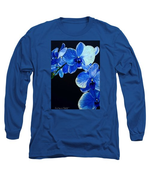 Blue Orchid - Electric-blue Phalaenopsis Long Sleeve T-Shirt